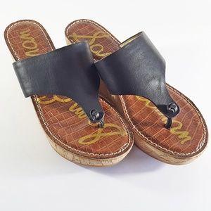 Sam Edelman Platform Cork Wedge Flip Flop Sandals
